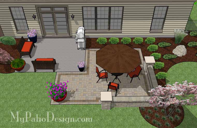 DIY Patio Addition Design With Seat Wall