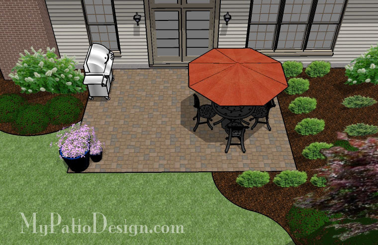 Diy paver patio design downloadable plan for Designing a patio layout