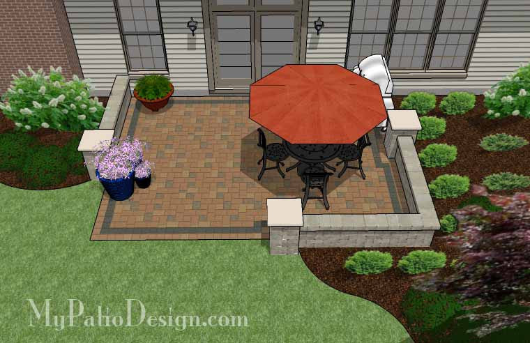DIY Paver Patio Design With Seat Wall