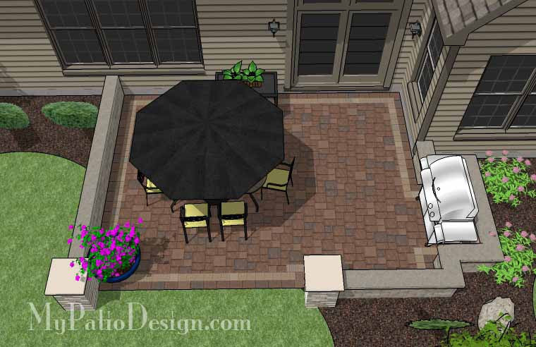 DIY Rectangular Patio Design with Seating Walls 2