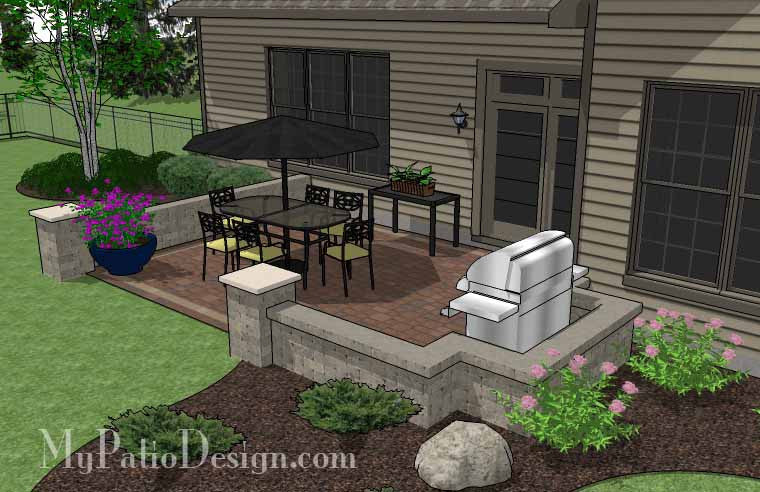 ... DIY Rectangular Patio Design With Seating Walls 4 ...