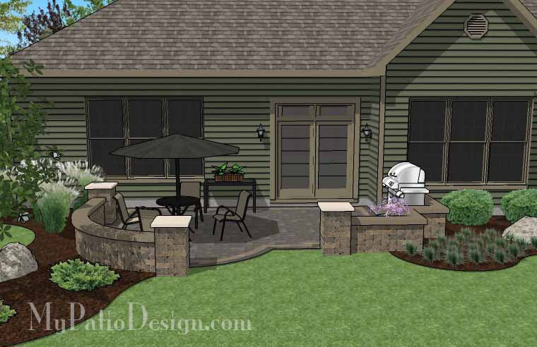 diy simple patio design with seat wall | downloadable plan ... - Simple Patio Design