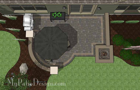 DIY Simple to Build Patio Design with Fire Pit #2