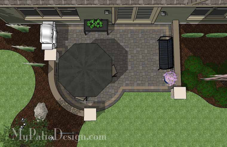 DIY Simple to Build Patio Design with Seat Wall #2