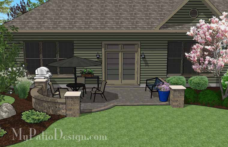 ... DIY Simple To Build Patio Design With Seat Wall #3 ...