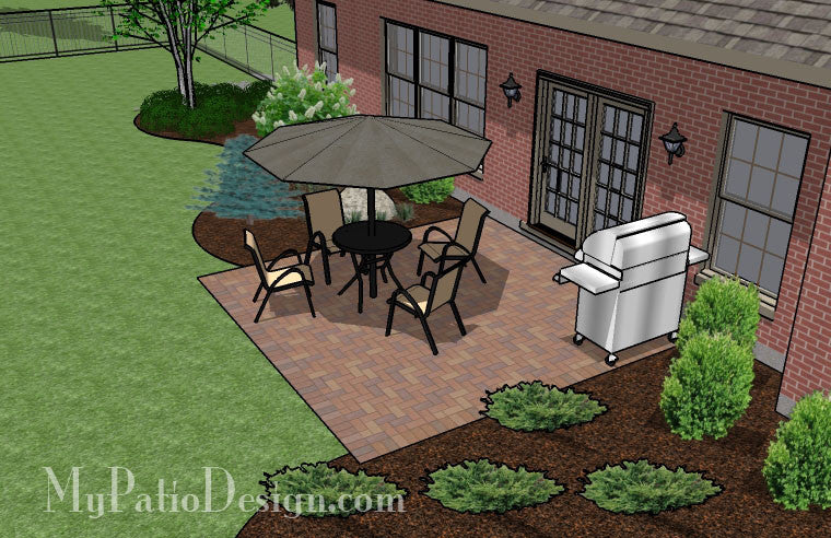 ... DIY-Small-Brick-Patio-Design-4 ... - DIY Small Brick Patio Design Downloadable Plan – MyPatioDesign.com