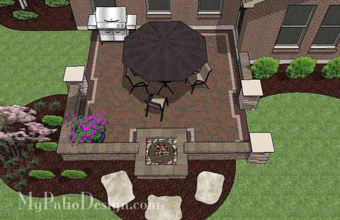 DIY-Small-Outdoor-Living-Design-with-Fire-Pit- & Corner Patio Design for 6u0027
