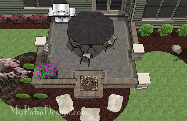 Diy Square Brick Patio Design With Fire Pit Downloadable Plan Mypatiodesign Com