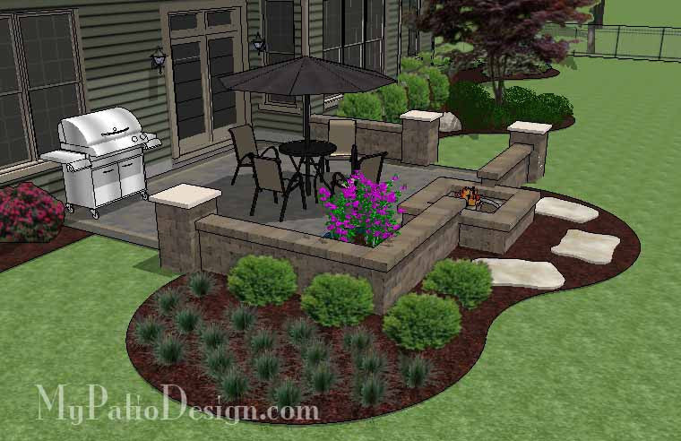 ... DIY Square Brick Patio Design With Fire Pit  ...