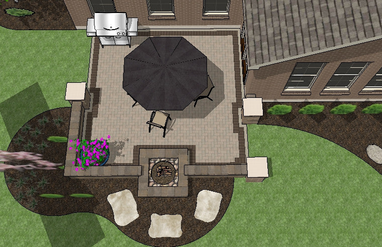 DIY Square Brick Patio Design with Seat Wall and Fire Pit 2