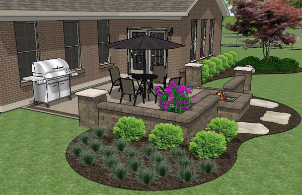 DIY Square Brick Patio Design with Seat Walls and Fire Pit ... on Square Patio Designs id=11202