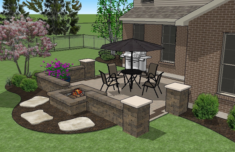 ... DIY Square Brick Patio Design With Seat Wall And Fire Pit 4 ...