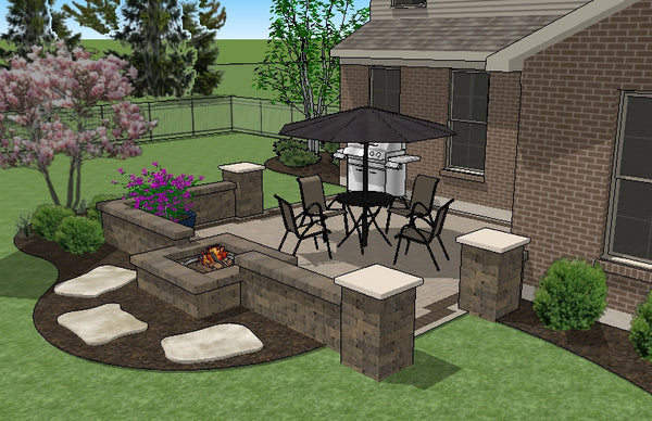 Diy Square Brick Patio Design With Seat Walls And Fire Pit