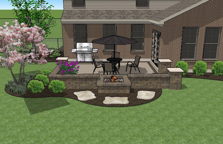DIY Square Brick Patio Design with Seat Walls and Fire Pit ... on Square Patio Ideas id=38389