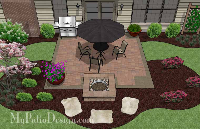 DIY Square Patio Design With Fire Pit