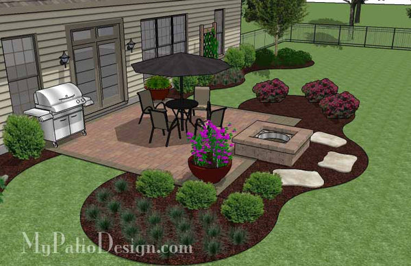 Diy square patio design with fire pit download plan - Landscaping ideas around concrete patio ...