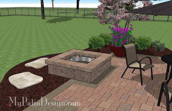 DIY Square Patio Design With Fire Pit | Download Plan U2013 MyPatioDesign.com