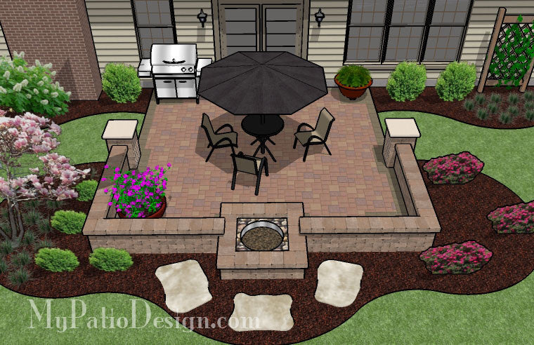 DIY Square Patio Design with Seat Wall and Fire Pit 2