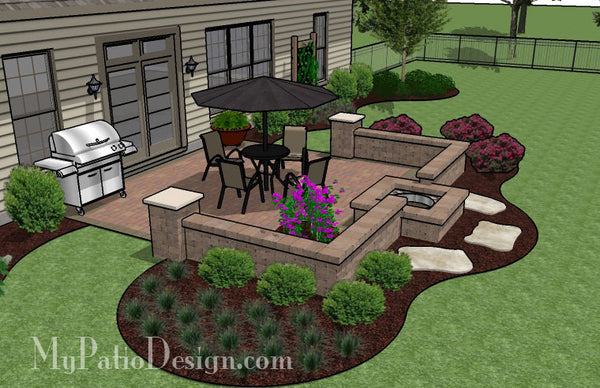 320 sq. ft. - DIY Square Patio Design with Seat Wall and ... on Square Paver Patio Ideas id=78047