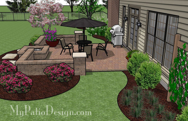 Diy square patio design with seat wall and fire pit 320 for Simple backyard patio designs