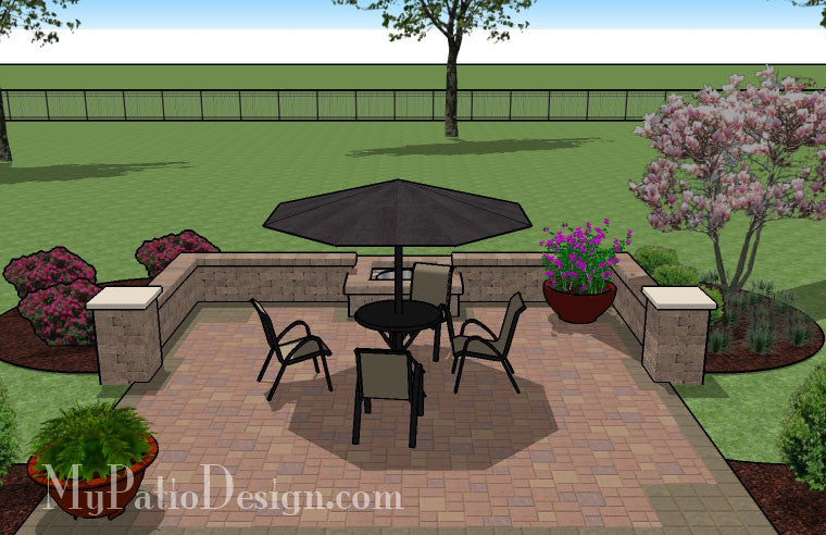 Simple Patio Designs With Fire Pit. Diy Square Patio Design With Seat Wall  And Fire