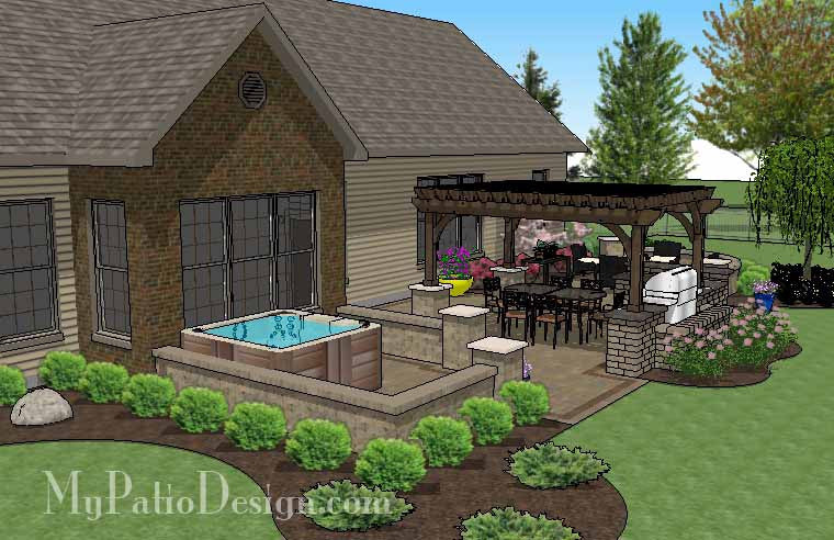 ... Dreamy Backyard Patio Design With Hot Tub 2 ...
