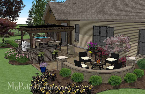 Dreamy Backyard Patio Design With Hot Tub Download Plan Mypatiodesign Com