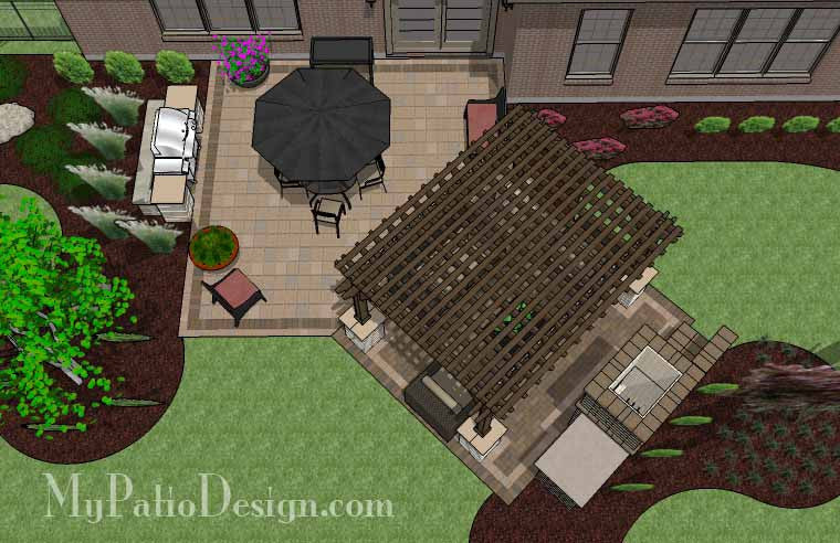 Dreamy Fireplace Patio Design with Pergola 2