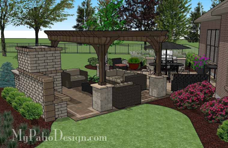 Dreamy Fireplace Patio Design with Pergola 635 sq ft