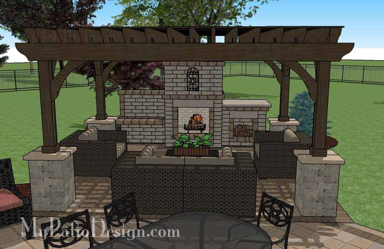 ... Dreamy Fireplace Patio Design With Pergola 6 ...