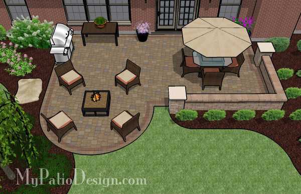Dreamy Paver Patio Design With Seat Wall