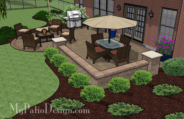 Dreamy Paver Patio Design With Seat Wall Download Plan