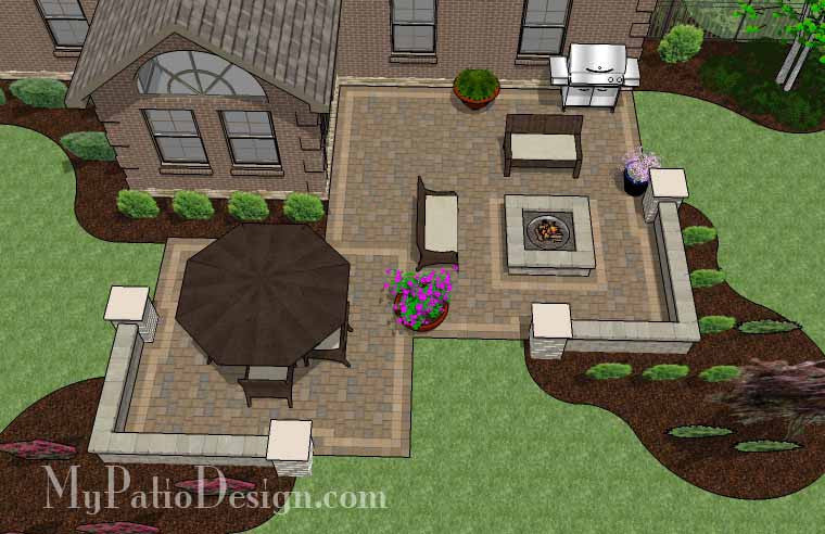 Fun Family Patio Design with Seating Walls 2
