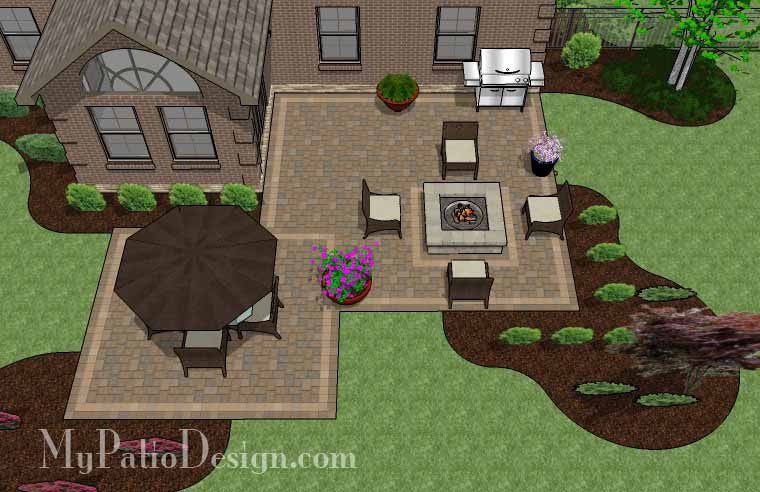 fun family patio design with fire pit   download plan ... - My Patio Design