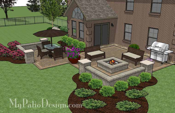 Fun Family Patio Design With Seat Walls Download Plan