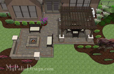 Fun Fire Pit Patio Design with Pergola 2