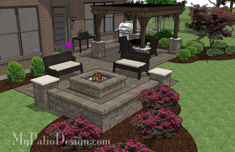 ... Fun Fire Pit Patio Design With Pergola 3 ...