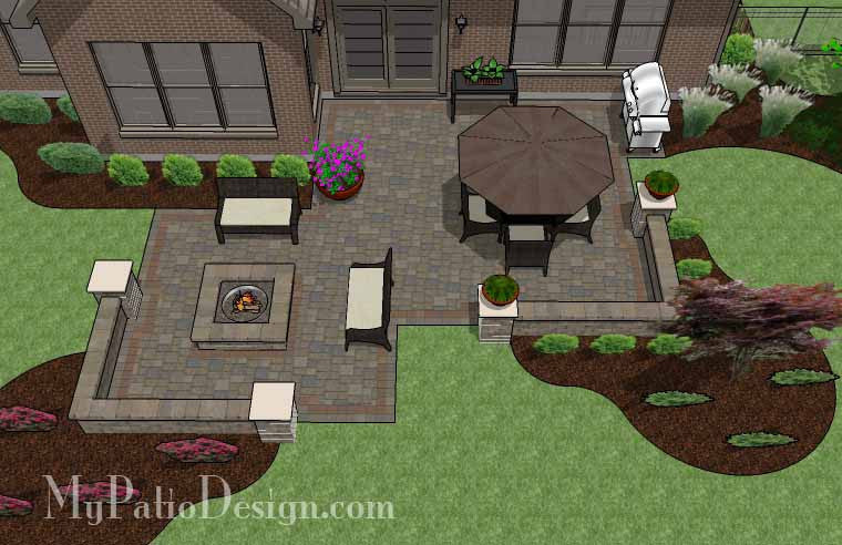 Fun Fire Pit Patio Design with Seat Walls 2