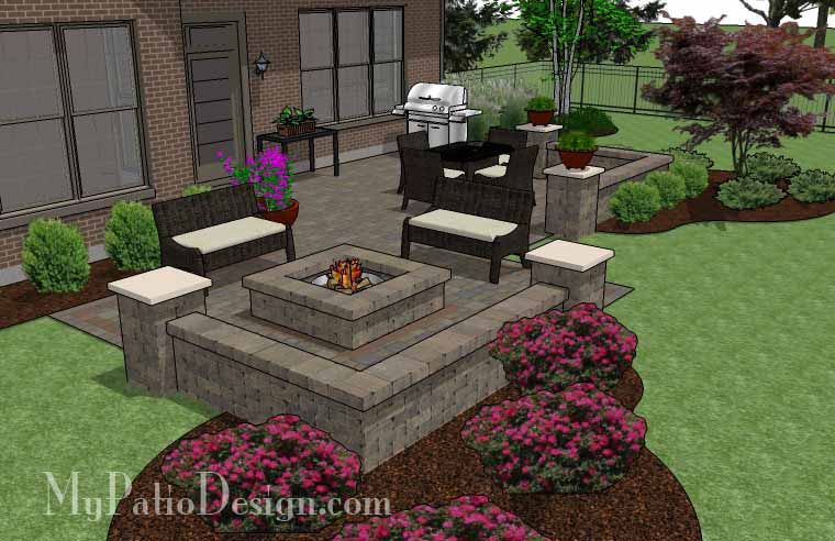 Fun Fire Pit Patio Design with Seat Walls Downloadable Patio