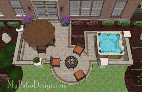 Hot Tub Patio Design with Seat Walls 2