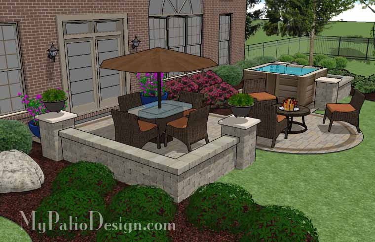 Hot tub patio design with seat walls download plan for How to build a florida room