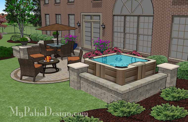 Hot Tub Patio Design With Seat Walls Download Plan