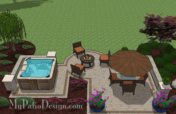 hot tub patio design with seat walls | download plan ... - Patio Ideas With Hot Tub