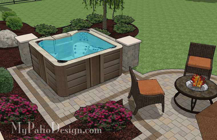 ... Hot Tub Patio Design With Seat Walls 7 ...