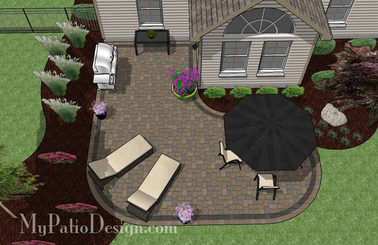 l shaped patio design | patio layout and material list ... - Designing A Patio Layout