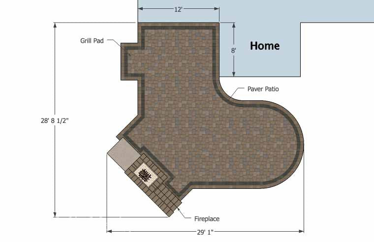 L Shaped Patio Design with Fireplace | Download Plan ... on L Shaped Backyard Layout id=90107
