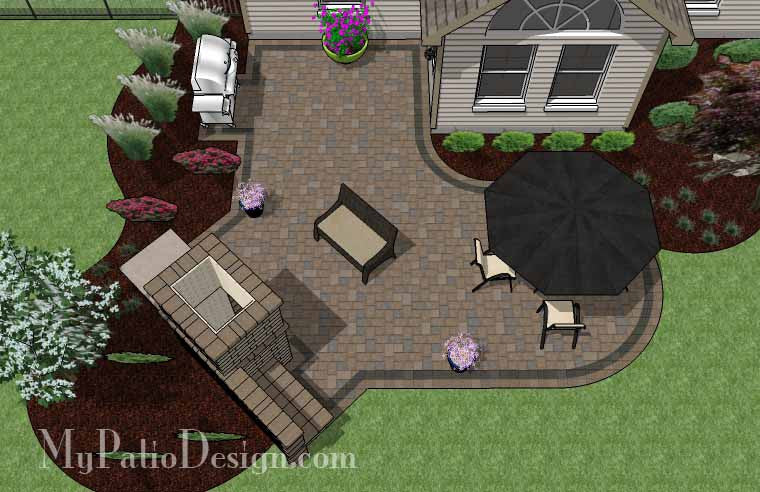L Shaped Patio Design with Fireplace 2