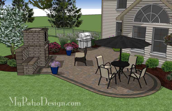 L Shaped Patio Design with Fireplace | Download Plan ... on L Shaped Backyard Ideas id=37564