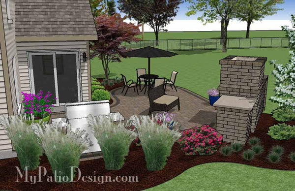 L Shaped Patio Design with Fireplace | Download Plan ... on L Shaped Backyard Ideas id=82437