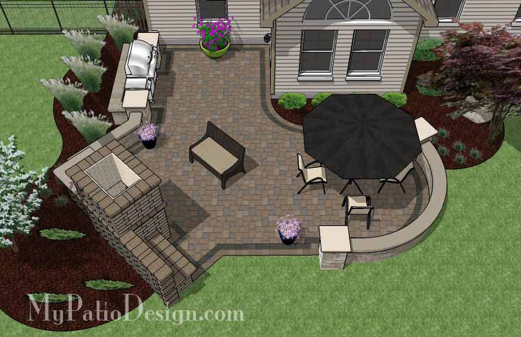 L Shaped Patio Design with Grill Station and Fireplace 2